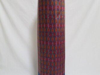 手織り絣ヨガマットバック ブルー プラスチックバックルの画像