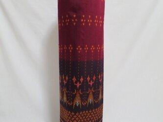 手織り絣ヨガマットバック エンジ メタルバックルの画像