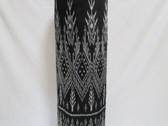 手織り絣ヨガマットバック ブラック メタルバックルの画像