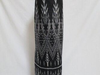 手織り絣ヨガマットバック ブラック プラスチックバックルの画像
