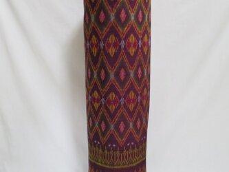 手織り絣ヨガマットバック エンジダイヤ プラスチックバックルの画像