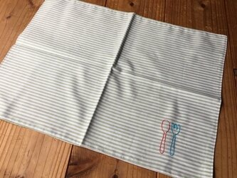 刺繍のランチョンマット緑ST(送料無料)の画像