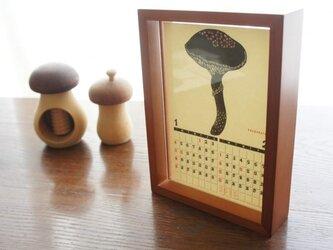【500円OFF】きのこ切り絵のレトロ印刷カレンダー2015postcardサイズの画像