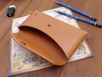 本革 封筒型ペンケース(足跡付き) キャメル 猫 その2の画像