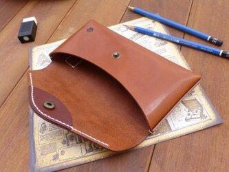 本革 封筒型ペンケース(足跡付き) ブラウン 猫の画像
