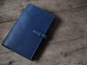 藍染め革 オーダーメイドの手帳カバー の画像