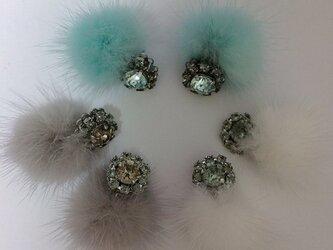jewel fur fur  gray  white greenの画像