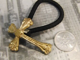 真鍮ブラス製 十字架/ビンテージクロス型ヘアゴムコンチョ 髪留め・バッグ飾り・ペットの首輪飾りにもの画像