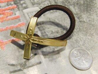 真鍮ブラス製 十字架/レトロクロス型ヘアゴムコンチョ 髪留め・バッグ飾り・ペットの首輪飾りにもの画像