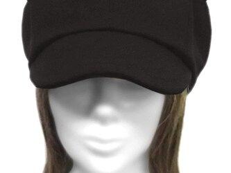 ネコ耳キャスケット(ゆったり)◆コットンストレッチニット/ブラックの画像