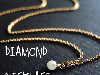 宝石質 ダイヤモンド ボタンカット 14K..GF  ネックレスの画像