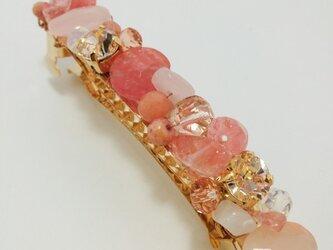 天然石&スワロmixバレッタ(ピンク系)の画像