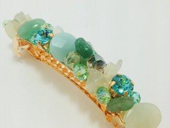天然石&スワロmixバレッタ(グリーン系)の画像