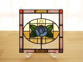 ステンドグラス ミニパネル 青バラ 15cmの画像
