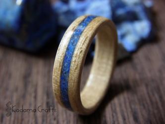 手作り木の指輪~タモ×ラピスラズリ~の画像