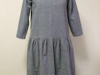 麻混 丸衿7分丈袖ワンピ M 薄い紺色 リバティタナローン 受注生産の画像