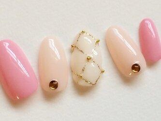キルティングネイル/ピンク/カワイイ/ジェルネイルチップ☆の画像