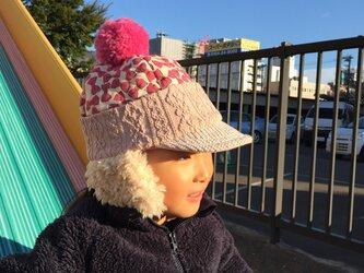 ほっぺもあったか♪ツバ&耳当て付 ニット帽Mサイズの画像