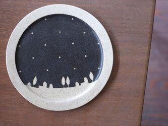 街とドットのケーキプレート(黒)の画像