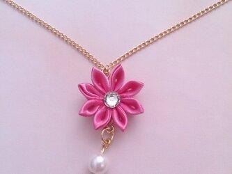 【つまみ細工】小さなお花のネックレス(ピンク1)の画像