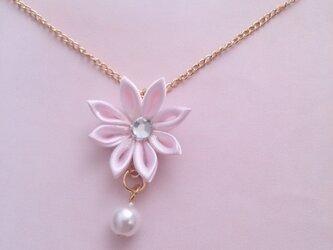 【つまみ細工】小さなお花のネックレス(ピンク2)の画像