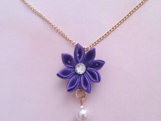 【つまみ細工】小さなお花のネックレス(紫1)の画像