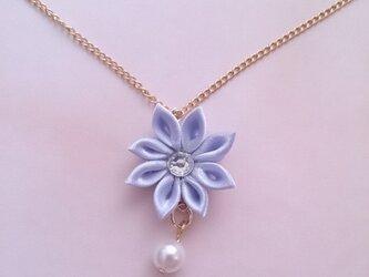 【つまみ細工】小さなお花のネックレス(紫2)の画像
