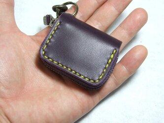 紫のミニファスナーコインケース 黄色ステッチの画像