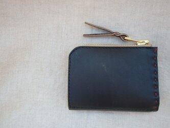L字ファスナーの小型財布 / ブラックの画像