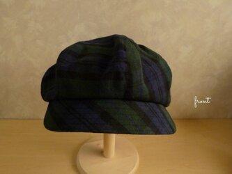 コットンリネン帽子【ブラックウォッチ】ゆったりキャスケットの画像