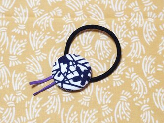 火消しのまとい柄の手ぬぐいヘアゴム(紫)の画像