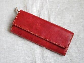 【人気】【受注生産】ラクダ革のシンプルな長財布(マチ付小銭入れ)の画像