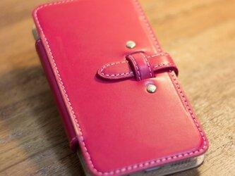 手帳タイプのiPhone6レザーケース ピンクxヌメ革の画像