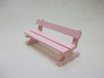 ミニチュアサイズ!木製のイス-ベンチMピンク-の画像