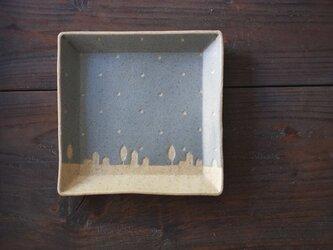 ドットと街の四角皿(空色)の画像