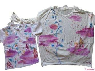 特注 親子お揃い「ふりしきる命」シャツ 2枚セットおそろいの画像