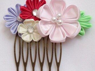 【つまみ細工】ピンクのフラワーヘアコームの画像