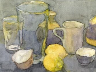 卓上の静物 黄色いレモンの画像