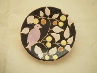 小皿(鳥)焦げ茶色の画像