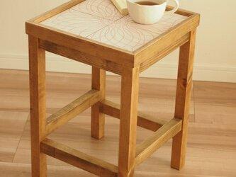 タイルサイドテーブル(ベージュ色)【受注生産品】送料無料の画像