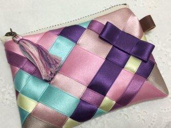 リボン編みのポーチ 秋カラー サイズSの画像