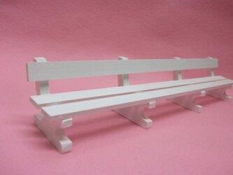 ミニチュアサイズ!木製のイス-ベンチLホワイト-の画像