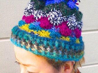 ブルー系ニット帽の画像