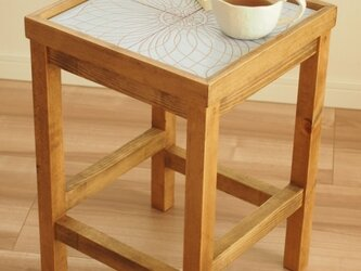 タイルサイドテーブル(水色)【受注生産品】送料無料の画像