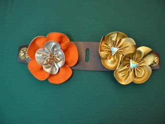 オーバーチョーカー フラワー(オレンジ・ゴールド)の画像