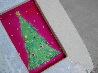 陶額入日本画 クリスマスツリーの画像