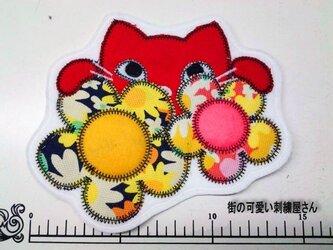 ★★お花と猫にゃんこ/アップリケ/ワッペン★★の画像