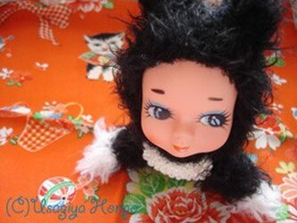 迷いのベビー黒猫・珠子(タマコ)ちゃん人形*白シッポの画像