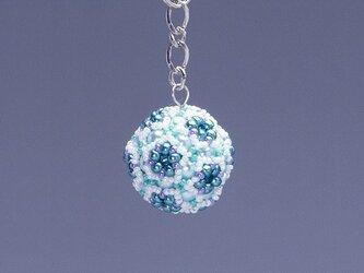 星型の花模様のボールの携帯ストラップ・ブルーグリーンの画像