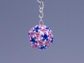 星型の花模様のボールの携帯ストラップ・ピンク&ブルーの画像